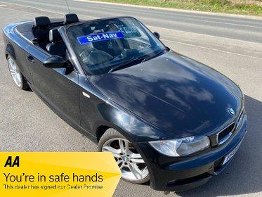 BMW 1 SERIES 125i M SPORT ELECTRIC SOFT TOP CONVERTIBLE £35 WEEK NO DEPOSIT SAT NAV BLUETOOTH PARK SENSORS CRUISE CD/MP3 A/C 1 YEAR MOT